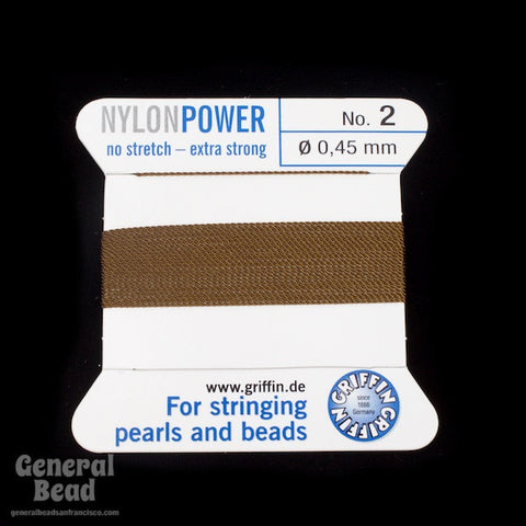 Brown Griffin Nylon Size 2 Needle End Bead Cord #CGF107