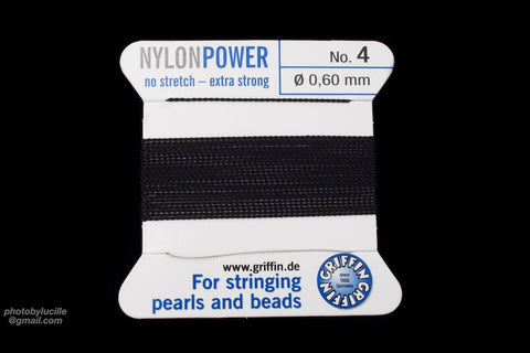 Black Griffin Nylon Size 4 Needle End Bead Cord #CGF202-General Bead