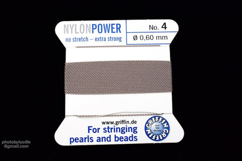 Grey Griffin Nylon Size 4 Needle End Bead Cord #CGF203-General Bead