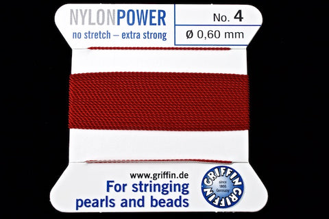 Garnet Griffin Nylon Size 4 Needle End Bead Cord #CGF206-General Bead