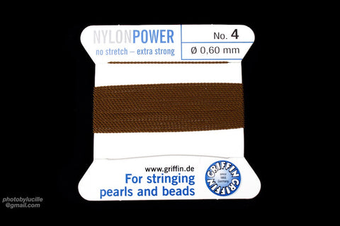 Brown Griffin Nylon Size 4 Needle End Bead Cord #CGF207-General Bead