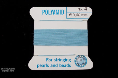 Light Blue Griffin Nylon Size 4 Needle End Bead Cord #CGF212-General Bead