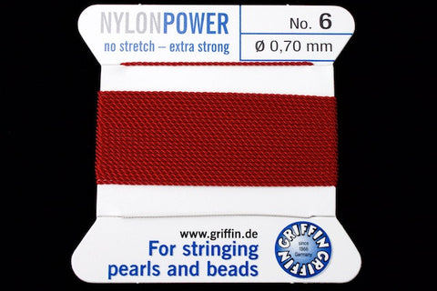Garnet Griffin Nylon Size 6 Needle End Bead Cord #CGF306-General Bead