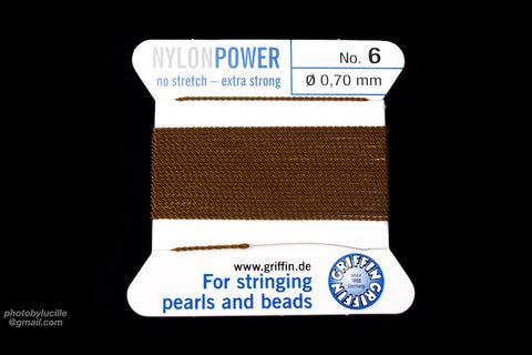 Brown Griffin Nylon Size 6 Needle End Bead Cord #CGF307-General Bead
