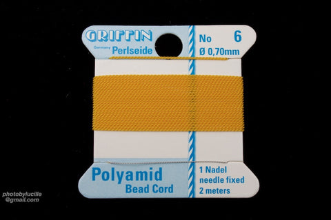Amber Griffin Nylon Size 6 Needle End Bead Cord #CGF310-General Bead