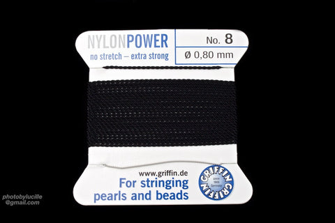 Black Griffin Nylon Size 8 Needle End Bead Cord #CGF402-General Bead