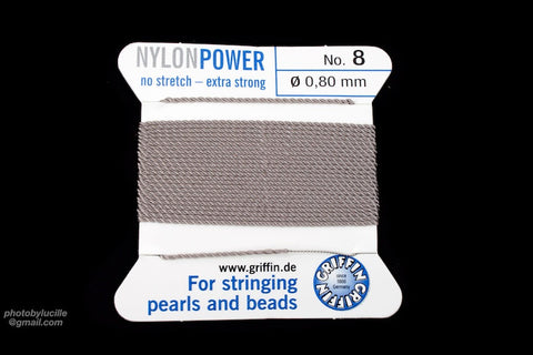 Grey Griffin Nylon Size 8 Needle End Bead Cord #CGF403-General Bead