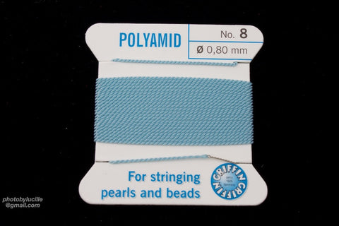 Light Blue Griffin Nylon Size 8 Needle End Bead Cord #CGF412-General Bead