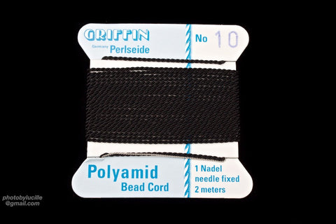 Black Griffin Nylon Size 10 Needle End Bead Cord #CGF502-General Bead