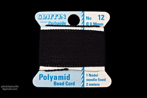 Black Griffin Nylon Size 12 Needle End Bead Cord #CGF602-General Bead