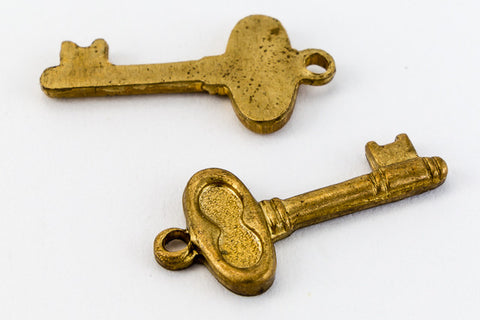 10mm Raw Brass Skeleton Key Charm (2 Pcs) #CHA030-General Bead