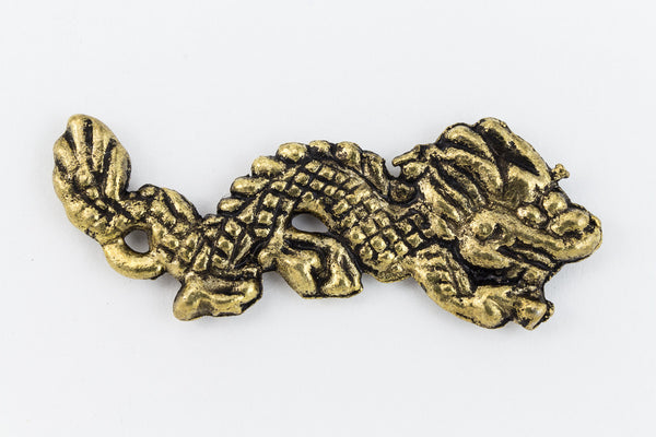 35mm Antique Gold Eastern Dragon Charm #CHA104