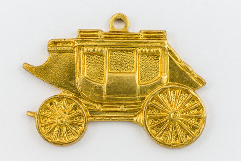23mm Raw Brass Stagecoach Charm #CHA177-General Bead
