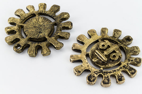 25mm Antique Gold Sun Charm #CHA186