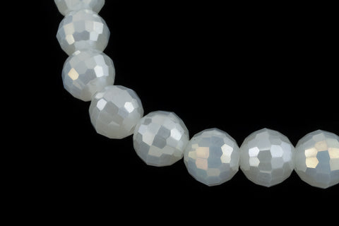 "16"" Strand 6mm Opal White Faceted Round Bead #CHR002"