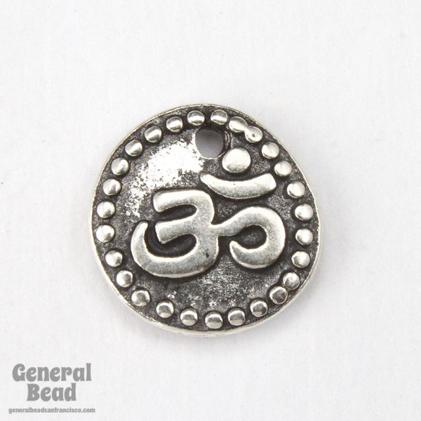 "11mm Antique Silver  ""Om"" Coin Tierracast Pewter Charm"