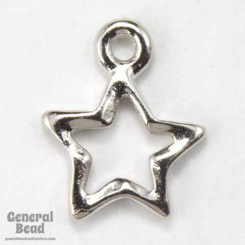 10mm x 13mm Rhodium Tierracast Wire Star Charms #CK031-General Bead