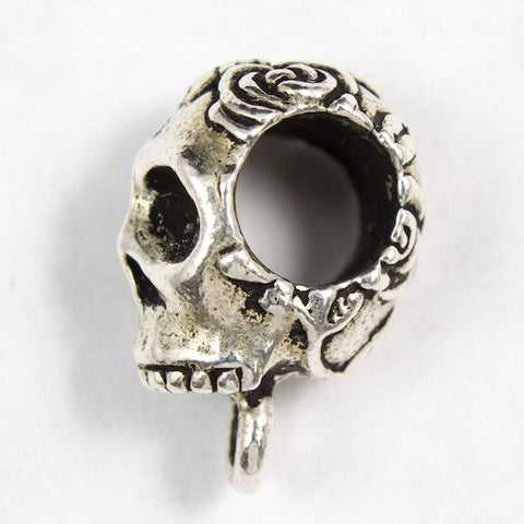 8.75mm x 16.75mm Antique Silver Tierracast Rose Skull Bail #CKA050