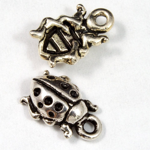 8.5mm x 12.75mm Antique Silver Tierracast Pewter Ladybug Charm #CKA068