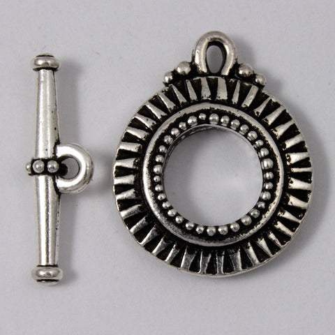 17.5mm Antique Silver Tierracast Pewter Sunburst Toggle Clasp #CK074-General Bead