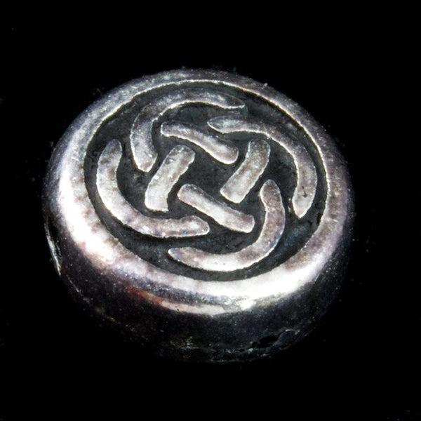 10mm Antique Silver Tierracast Celtic Knot Coin Bead