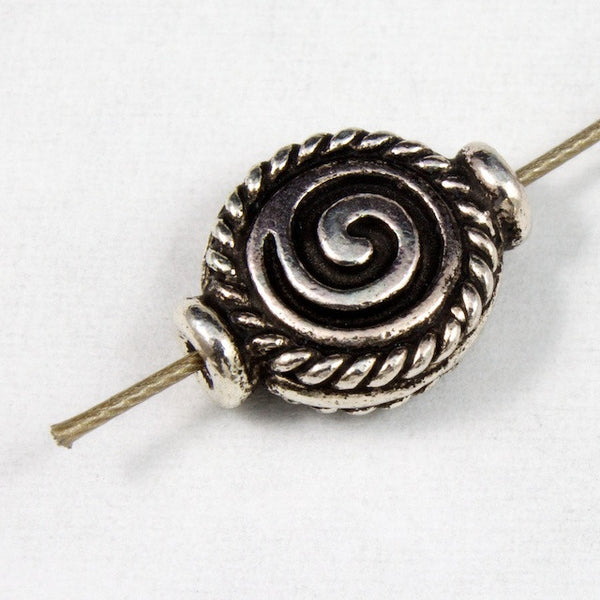 10mm Antique Silver Tierracast Pewter Spiral Bead