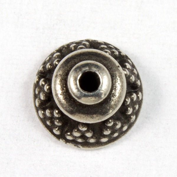 "8mm Antique Silver ""Bali"" Tierracast Bead Cap #CKA112"