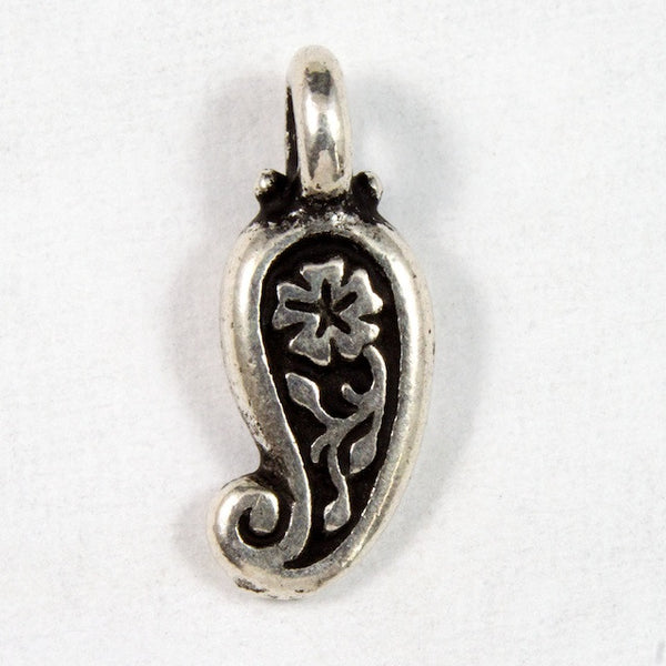 5mm x 12mm Antique Silver Tierracast Paisley Charm #CKA121