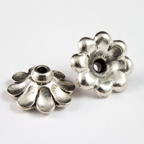 11mm Antique Silver Tierracast Scalloped Bead Cap