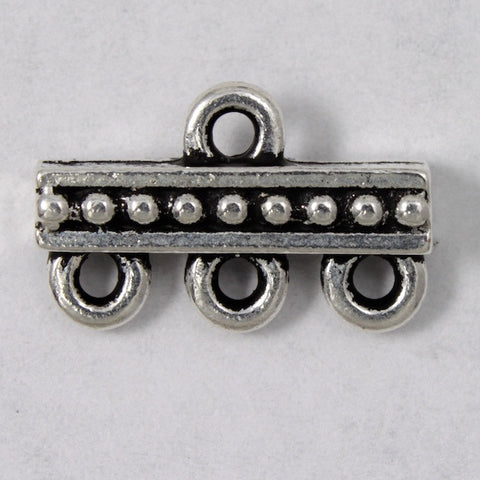 9.3mm x 14.7mm Antique Silver Tierracast Beaded Three Loop End Bar #CKA152-General Bead