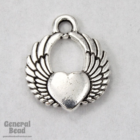 20mm Antique Silver Winged Heart Charm #CKA188