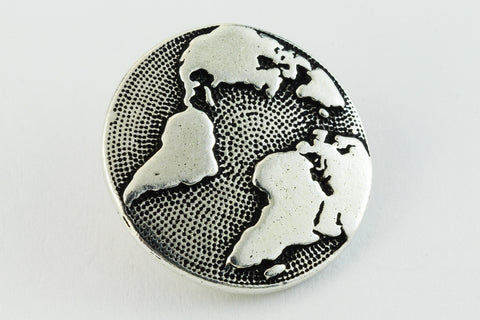 17mm Antique Silver Tierracast Earth Button (20 Pcs) #CKA236-General Bead