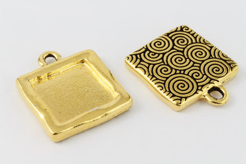 21mm Gold Tierracast Simple Square Drop Frame #CK587-General Bead