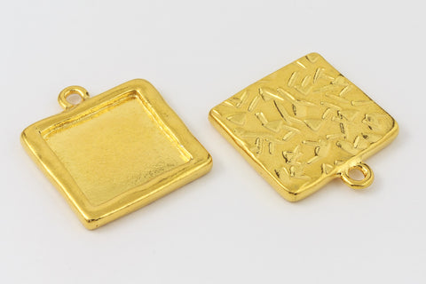 25mm Gold Tierracast Square Drop Frame #CK588-General Bead