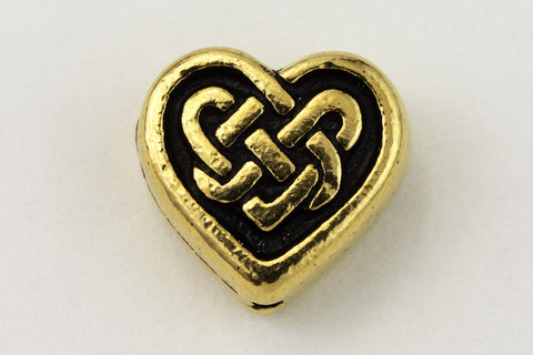 10mm Antique Gold TierraCast Pewter Celtic Heart Bead (20 Pcs) #CK706