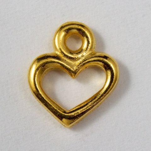 4.5mm x 8.25mm Antique Gold Tierracast Pewter Open Heart Charm #CKB026-General Bead