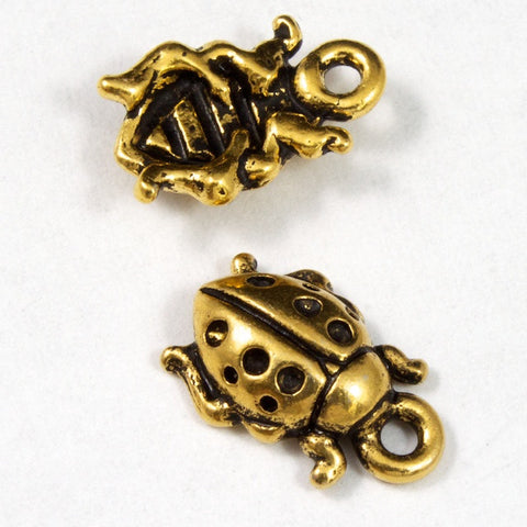 8.5mm x 12.75mm Antique Gold Tierracast Pewter Ladybug Charm