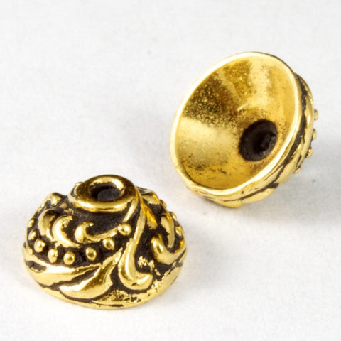 7mm Antique Gold Tierracast Pewter Ivy Bead Cap