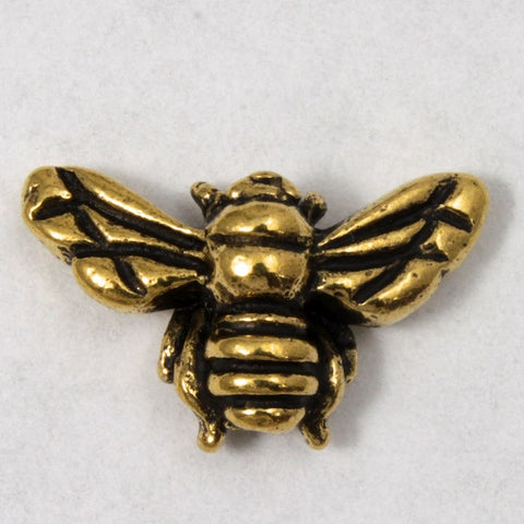9.5mm 15.75mm Antique Gold Tierracast Pewter Honeybee Bead-General Bead