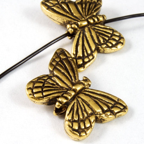 11.25mm x 15.75mm Antique Gold Tierracast Pewter Monarch Butterfly Bead