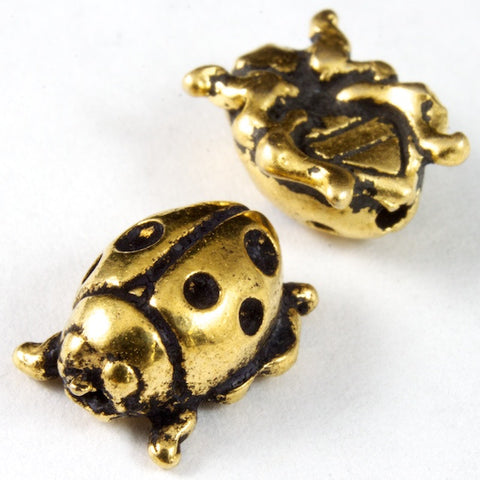 8mm x 10mm Antique Gold Tierracast Pewter Ladybug Bead-General Bead