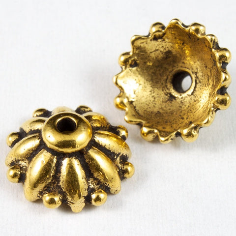 10mm Antique Gold Tierracast Pewter Dharma Bead Cap #CKB113