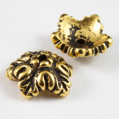 10mm Antique Gold Tierracast Oak Leaf Bead Cap