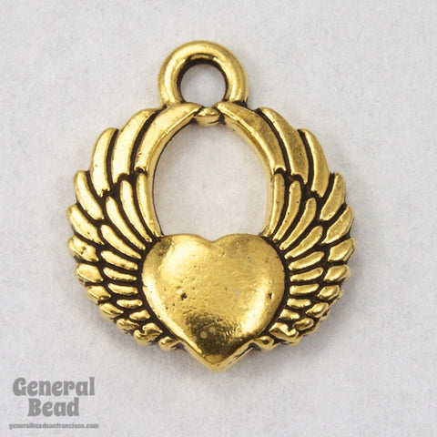 20mm Antique Gold Winged Heart Charm