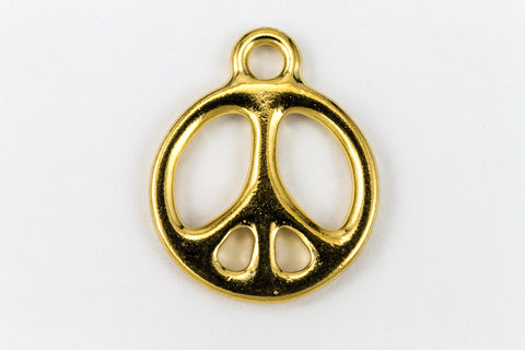 9mm Gold Plated Peace Sign Charm #BGT045