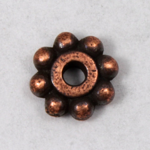6mm Antique Copper Tierracast Pewter Beaded Daisy Spacer #CKC033-General Bead