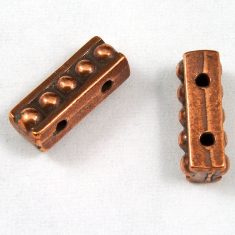 3.5mm x 10.75mm Antique Copper Tierracast Beaded Two Hole Spacer Bar-General Bead