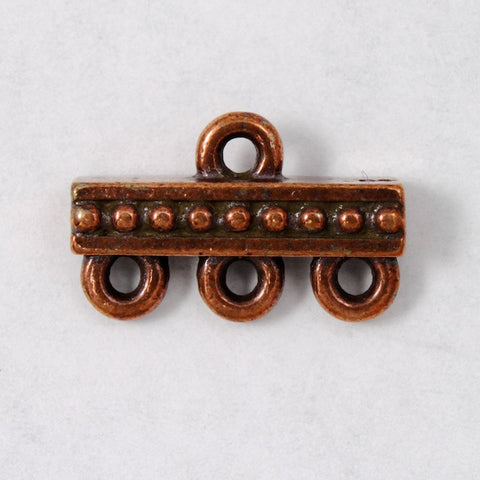 9.3mm x 14.7mm Antique Copper Tierracast Beaded Three Loop End Bar-General Bead