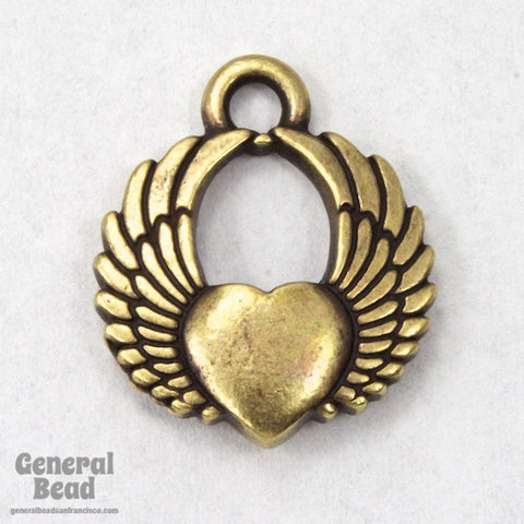 20mm Antique Brass Winged Heart Charm