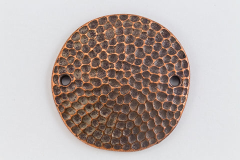 "1"" Antique Copper Tierracast Hammered Disk Link (5 Pcs) #CKD372-General Bead"